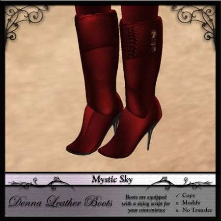 Denna Leather Boots in Red